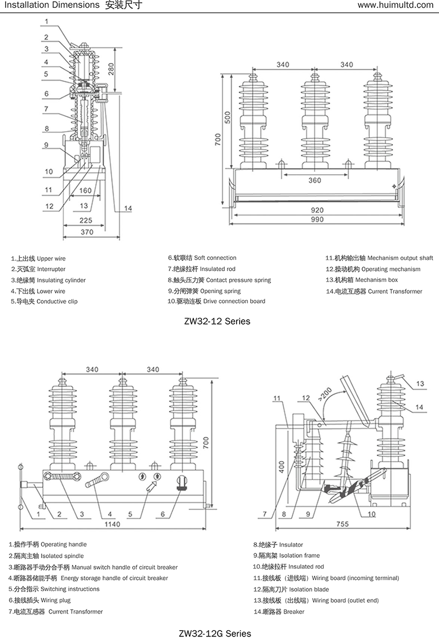 ZW32-12 Series Appearance and mounting dimensions
