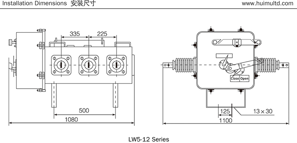 LW5-12 Series Appearance and mounting dimensions