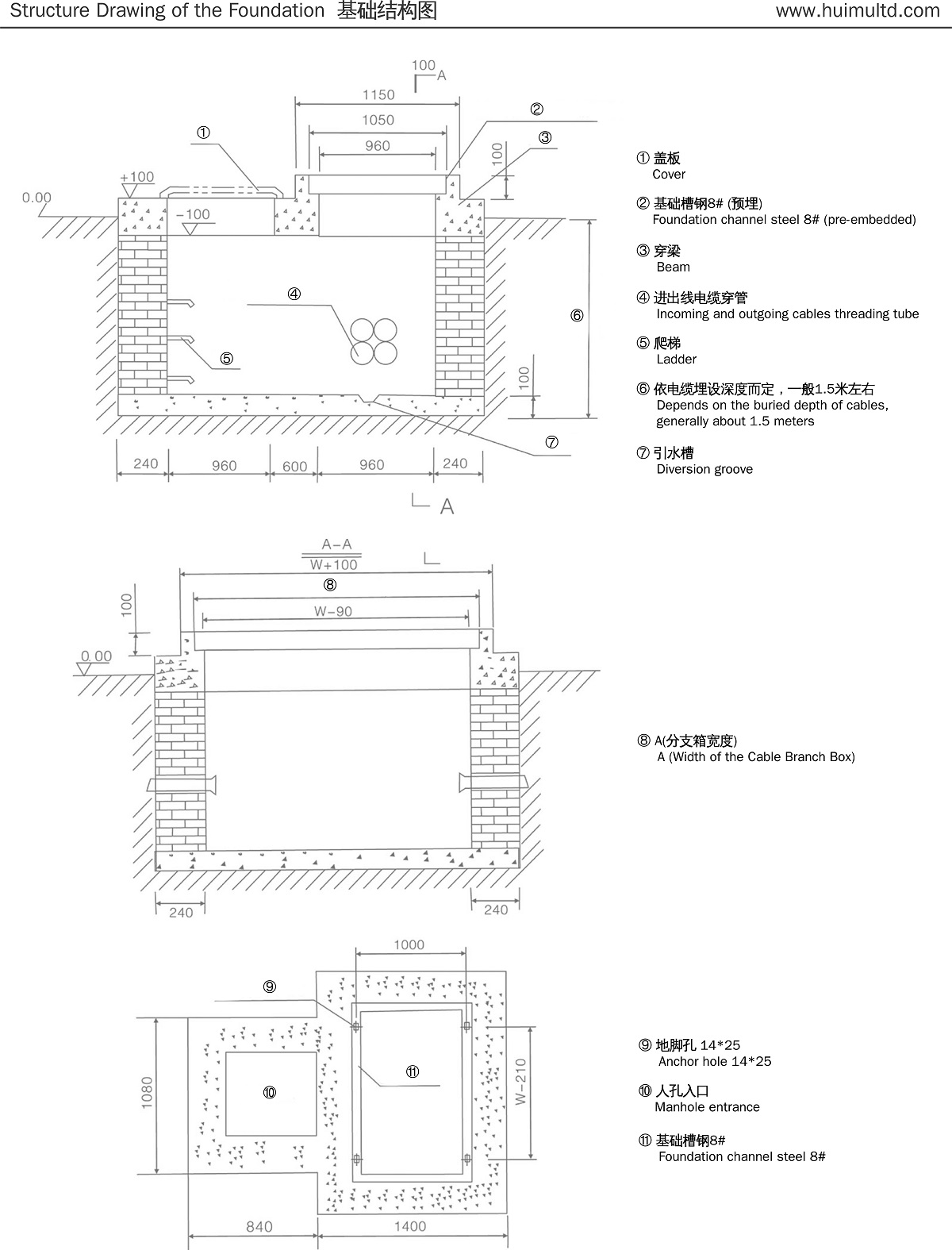 DFW series Cable Branch Box with switch Structure drawing of the foundation