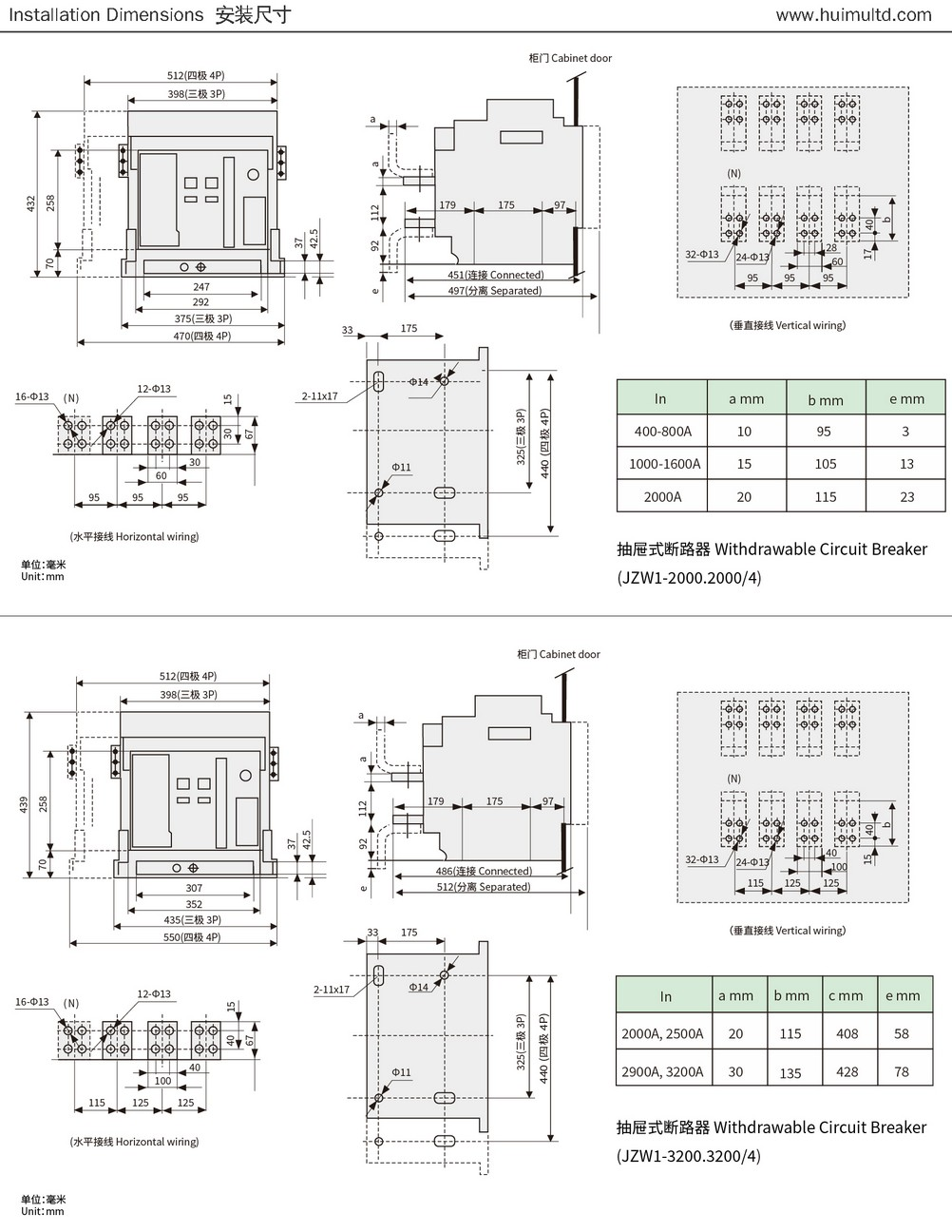 JZW1 Series Appearance and mounting dimensions 2