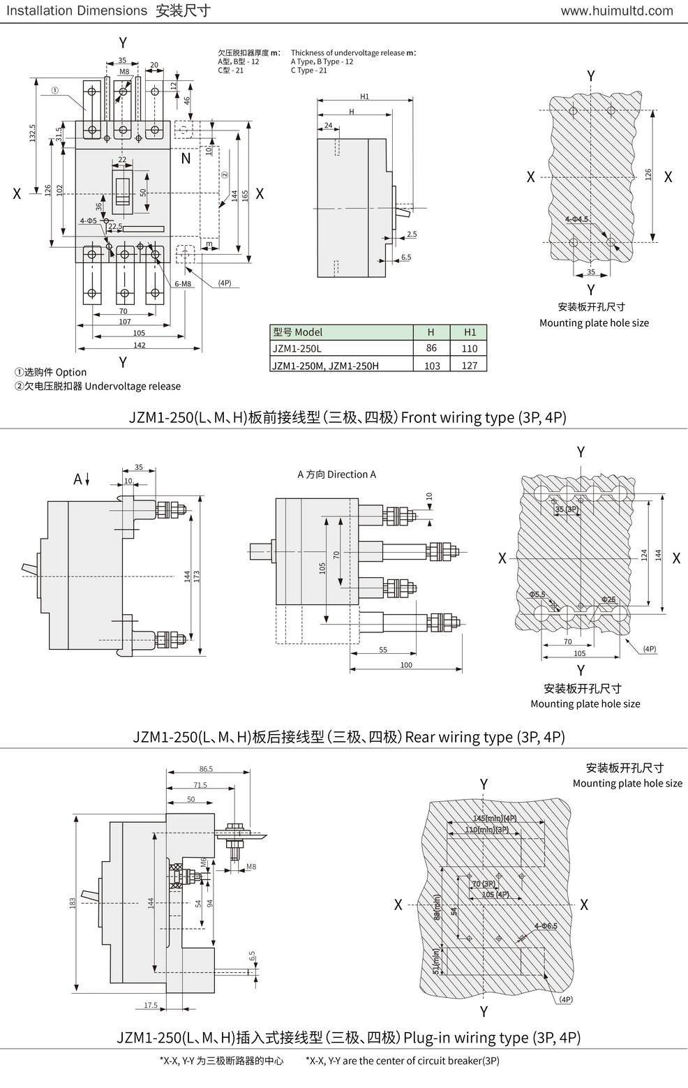 JZM1 Series Appearance and mounting dimensions 2